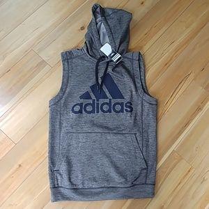 NWT adidas sleeveless hoodie climawarm grey men M